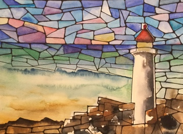 Watercolor painting of Lighthouse